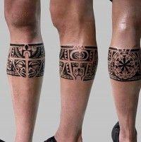 dark black ink aztec tribal style leg band pattern tattoo tattoo pinterest tattoo. Black Bedroom Furniture Sets. Home Design Ideas