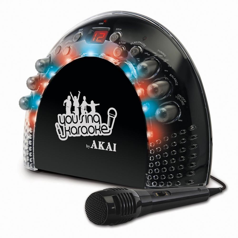 Akai Portable CD+G Karaoke System with Light Effects, Black
