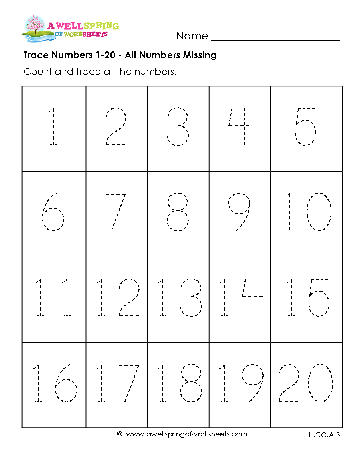 Preschool Worksheets Numbers 1 20 : Trace numbers in these six number tracing
