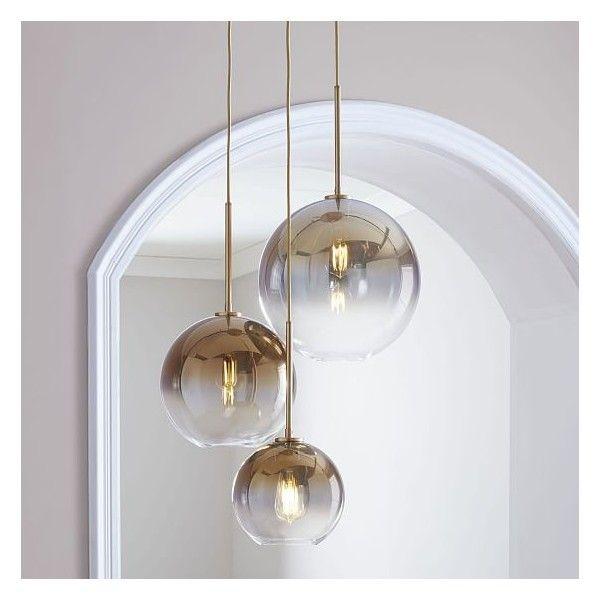 West Elm Sculptural Glass 3 Light Round Globe Chandelier S M L