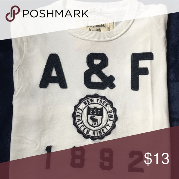 Men's Abercrombie & Fitch Short Sleeve T-Shirt White Abercrombie & Fitch Men's T-Shirt with Navy Blue lettering Abercrombie & Fitch Shirts Tees - Short Sleeve