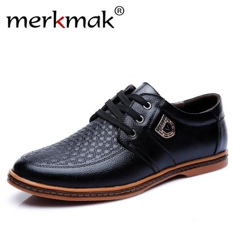 4443e91dc86 Merkmak New Men s Leather Casual Shoes Autumn Luxury Brand Shoes Men Flat  Shoes Adult Moccasins Male Shoes Chaussure Home From Touchy Style Outfit ...
