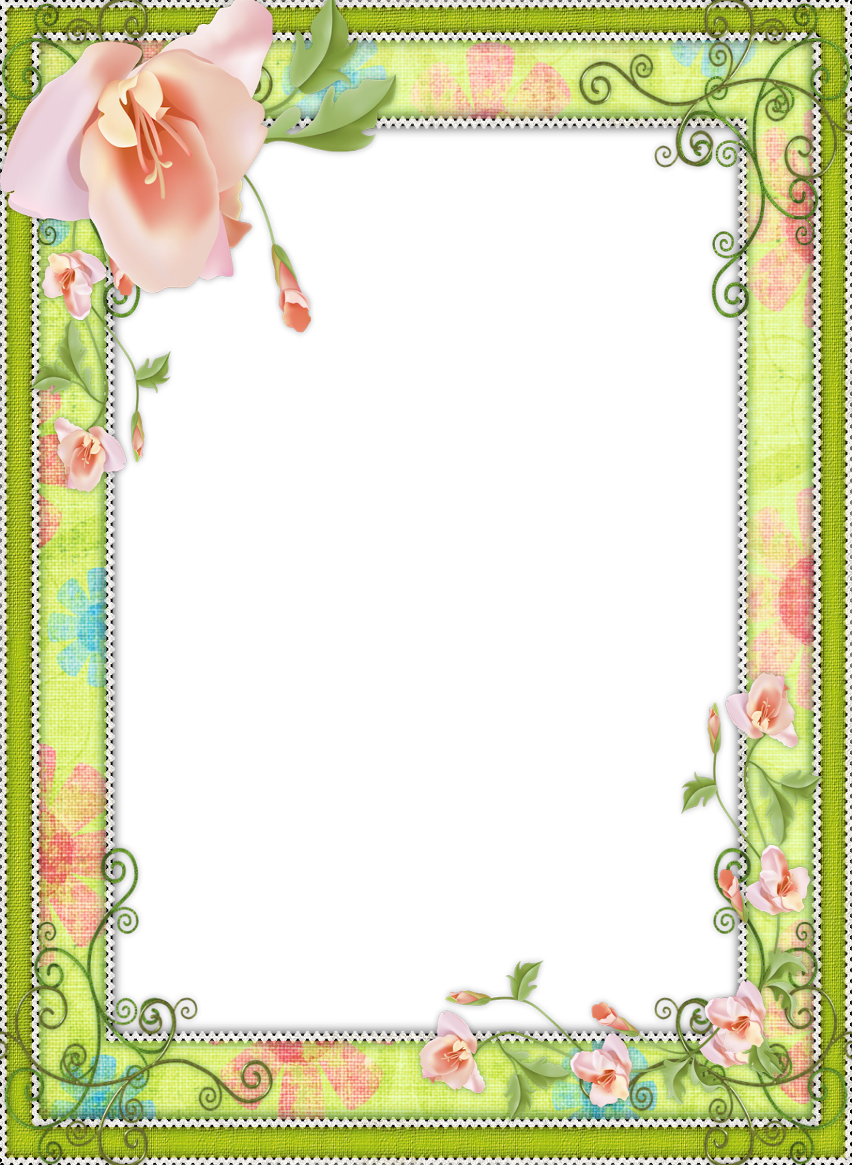 light green transparent flower frame
