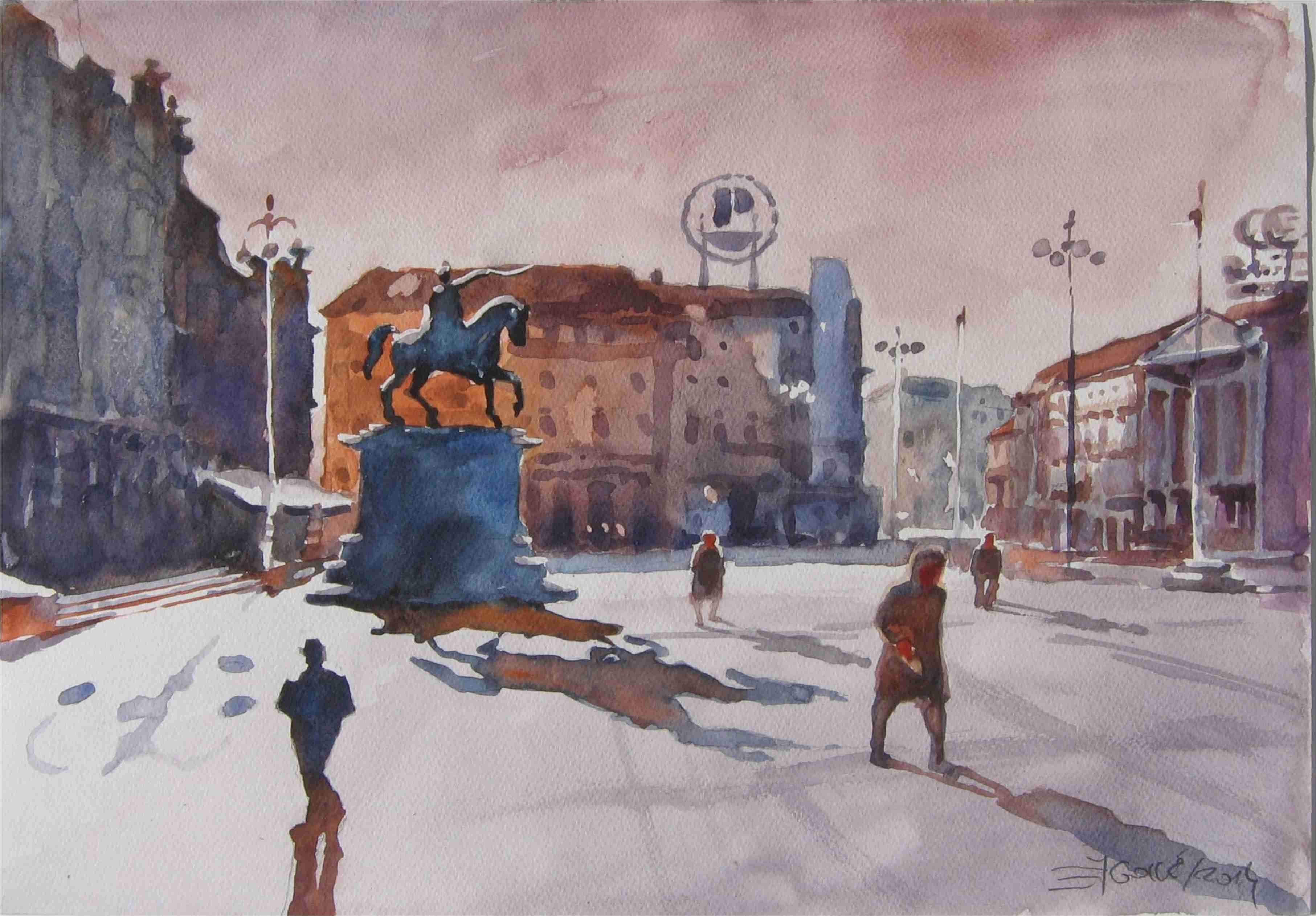 Zagreb Trg Bana Josipa Jelacica 55x35 Akvarel Zagreb Croatia Zagreb Painting
