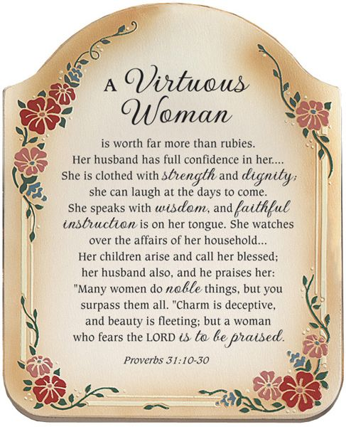 Virtuous Woman Proverbs 3110 30 Inspirational Christian Plaque