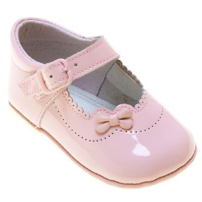 Baby Girls Pink Patent Pram Shoes With