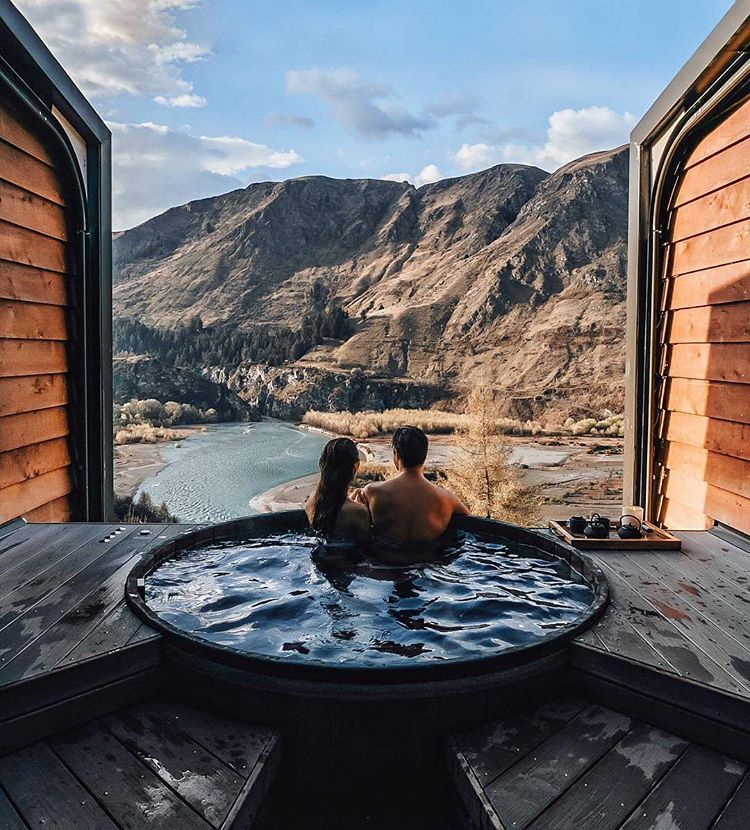 We Re Adding The Onsen Hot Pools To Our To Do List For Queenstown Look At That View Winter Travel Travel Couple Hot Pools