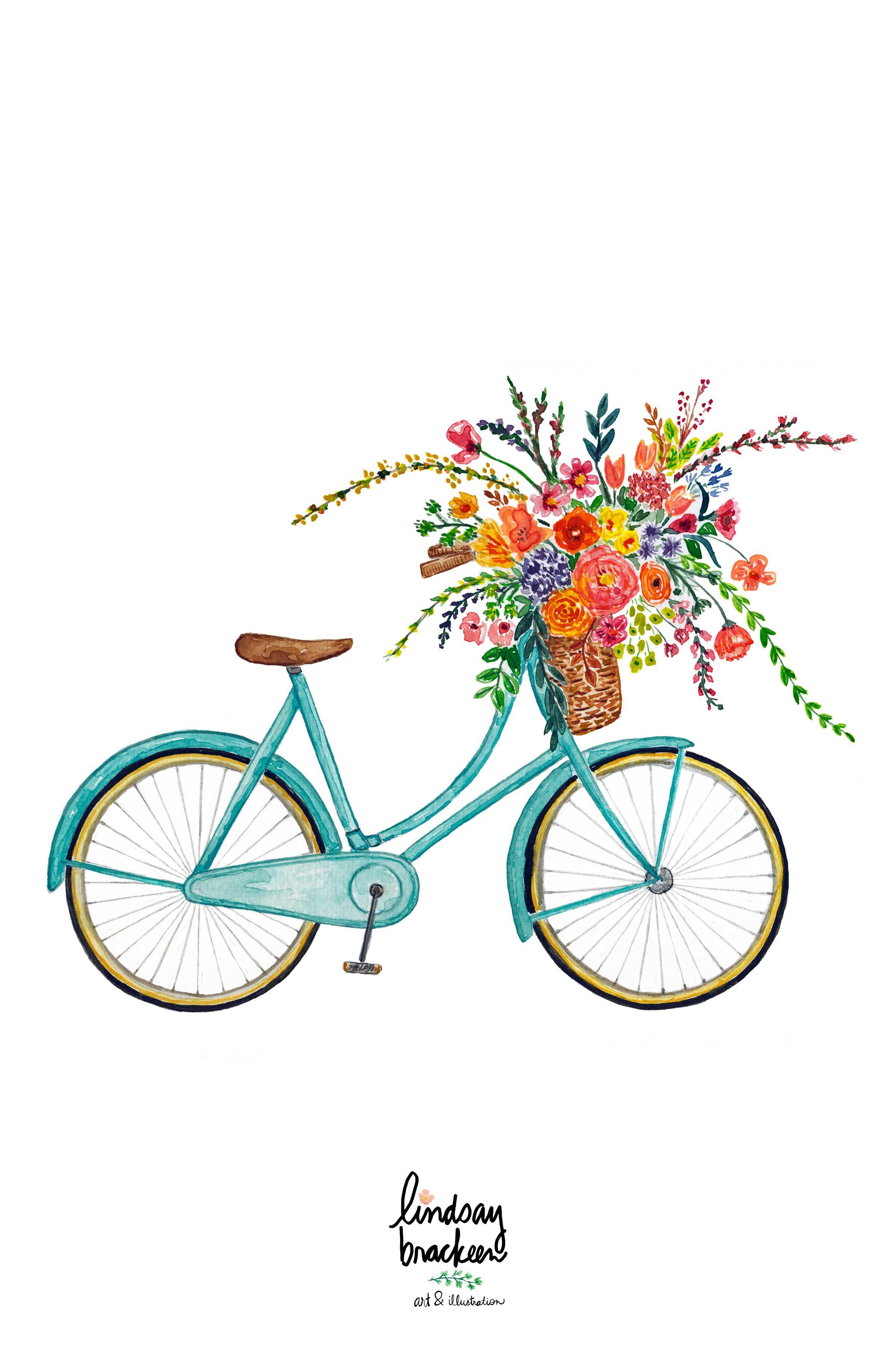 Vintage Blue Bike Bicycle Flower Basket Wall Art Print Floral Etsy Watercolor Flower Illustration Bicycle Illustration Bike Art