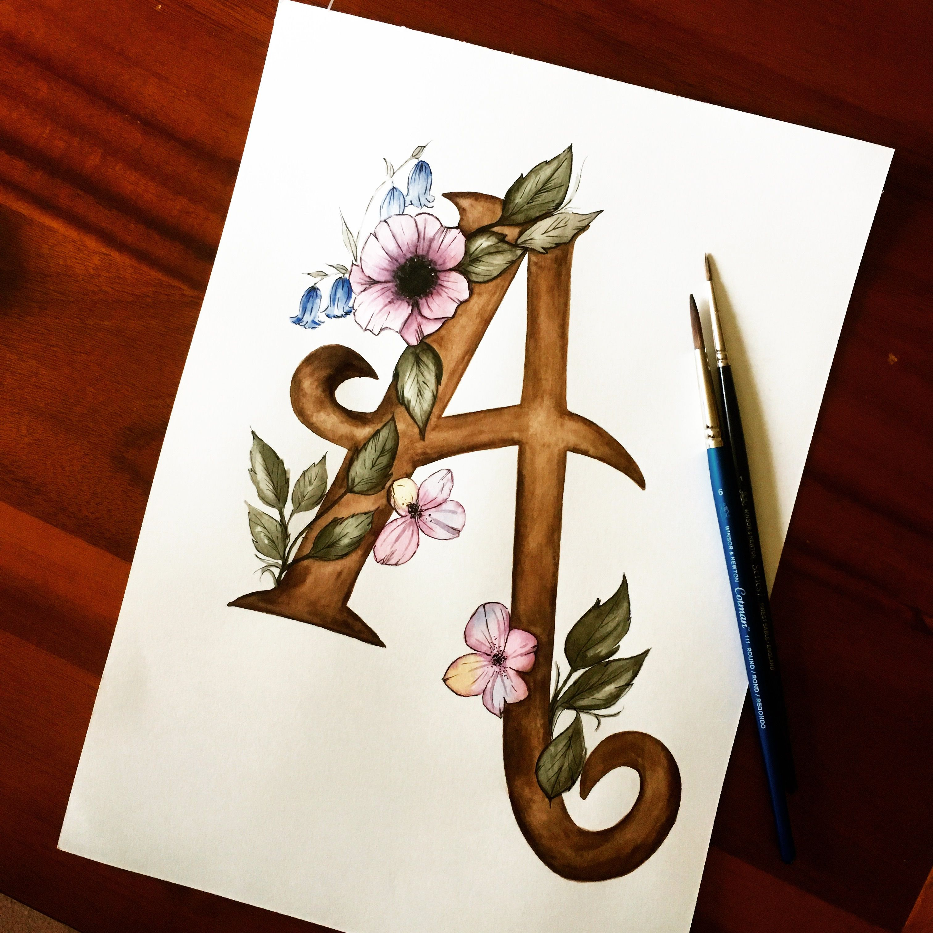 Watercolour Initial Letter V Quote Print