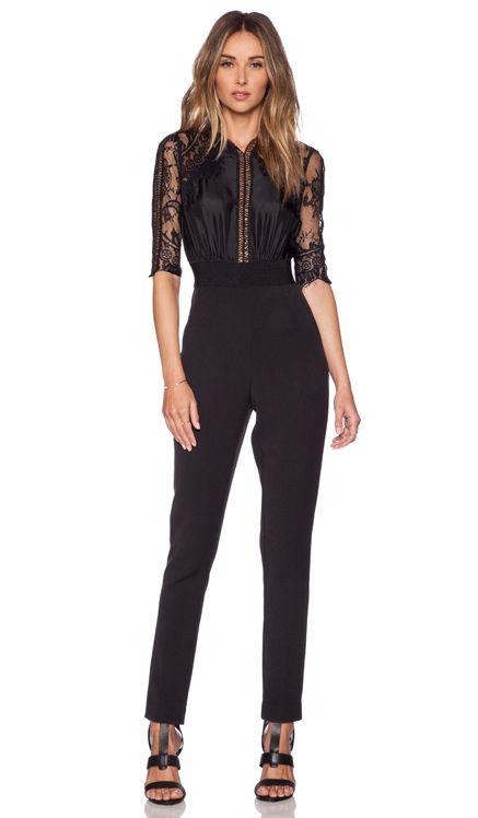 0a05728dbdc self-portrait Lace Sequence Jumpsuit in Black