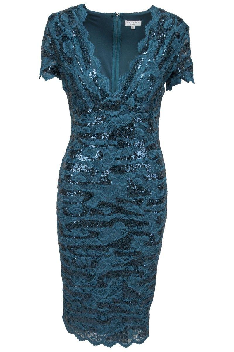 da1c886ff494 Goddess petroleum midi kjole