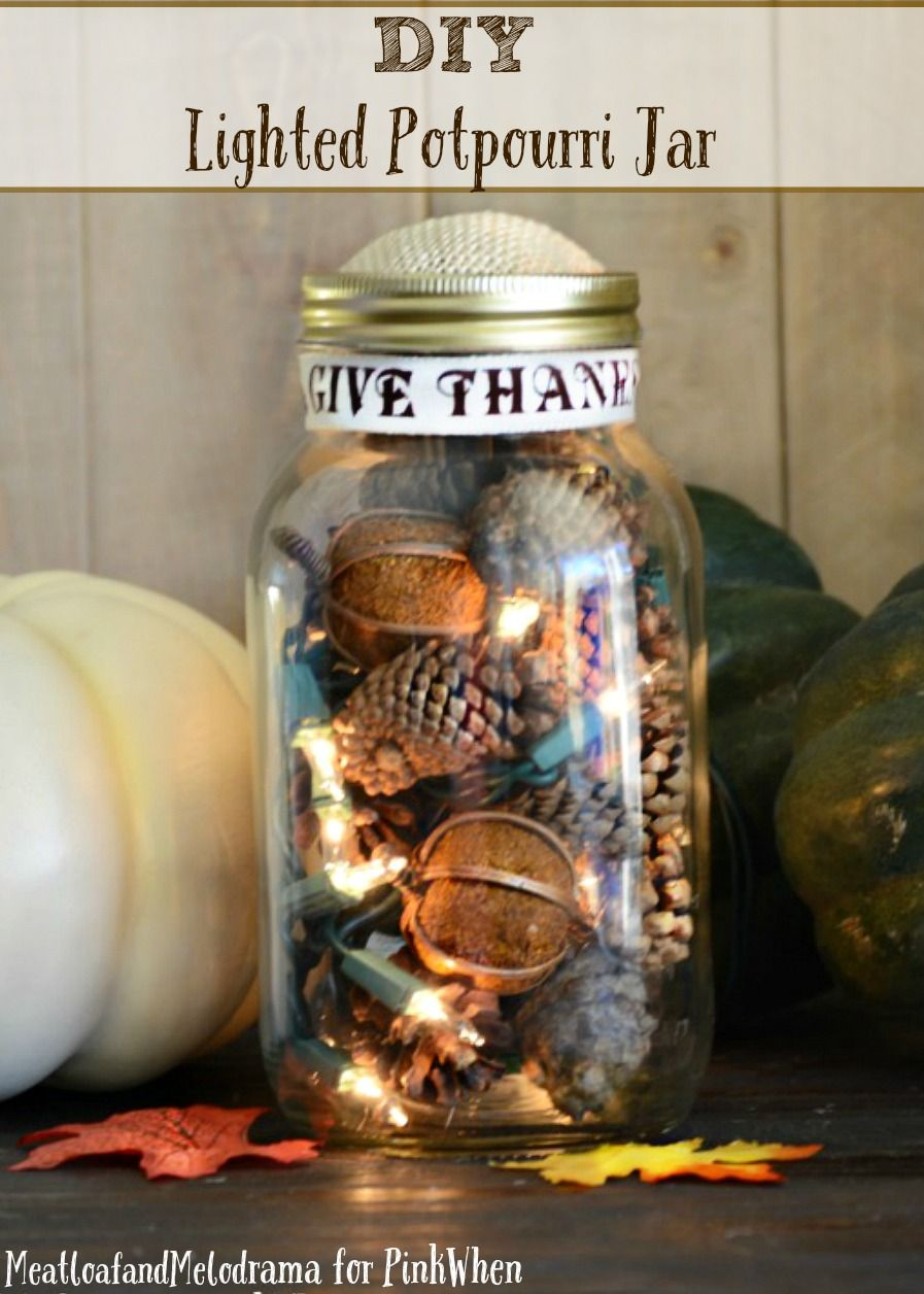 Lighted Mason Jar Potpourri - Check out this easy tutorial on how to DIY a Lighted Potpourri Mason jar.