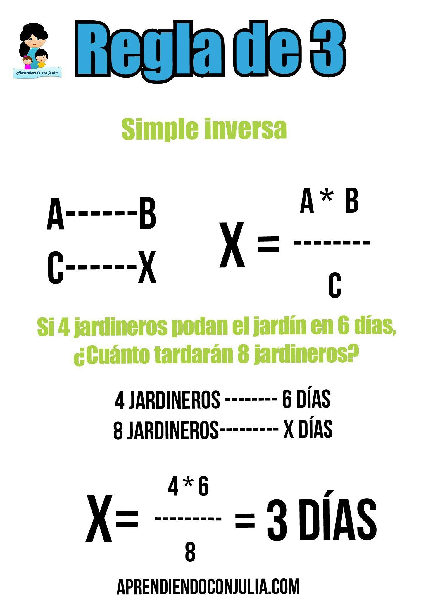 Regla De Tres Explicación Imprimible Con Ejemplos Aprendiendo Con Julia Secundaria Matematicas Curiosidades Matematicas Matematicas Interactivas