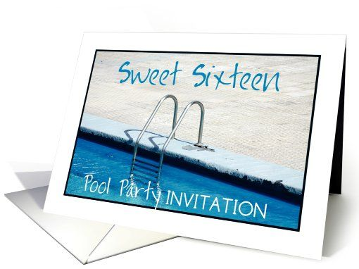16th Birthday Sweet Sixteen Pool Party Invitation Card