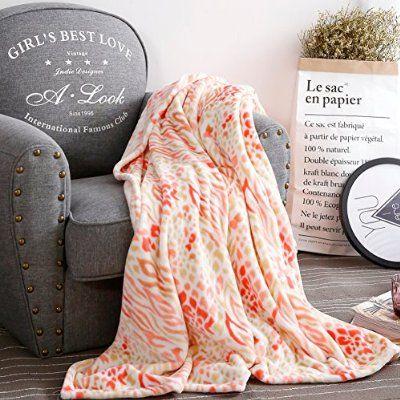 Qbedding Luxury Collection Ultra Soft Leopard Series Microplush Blanket (Queen, Orange)