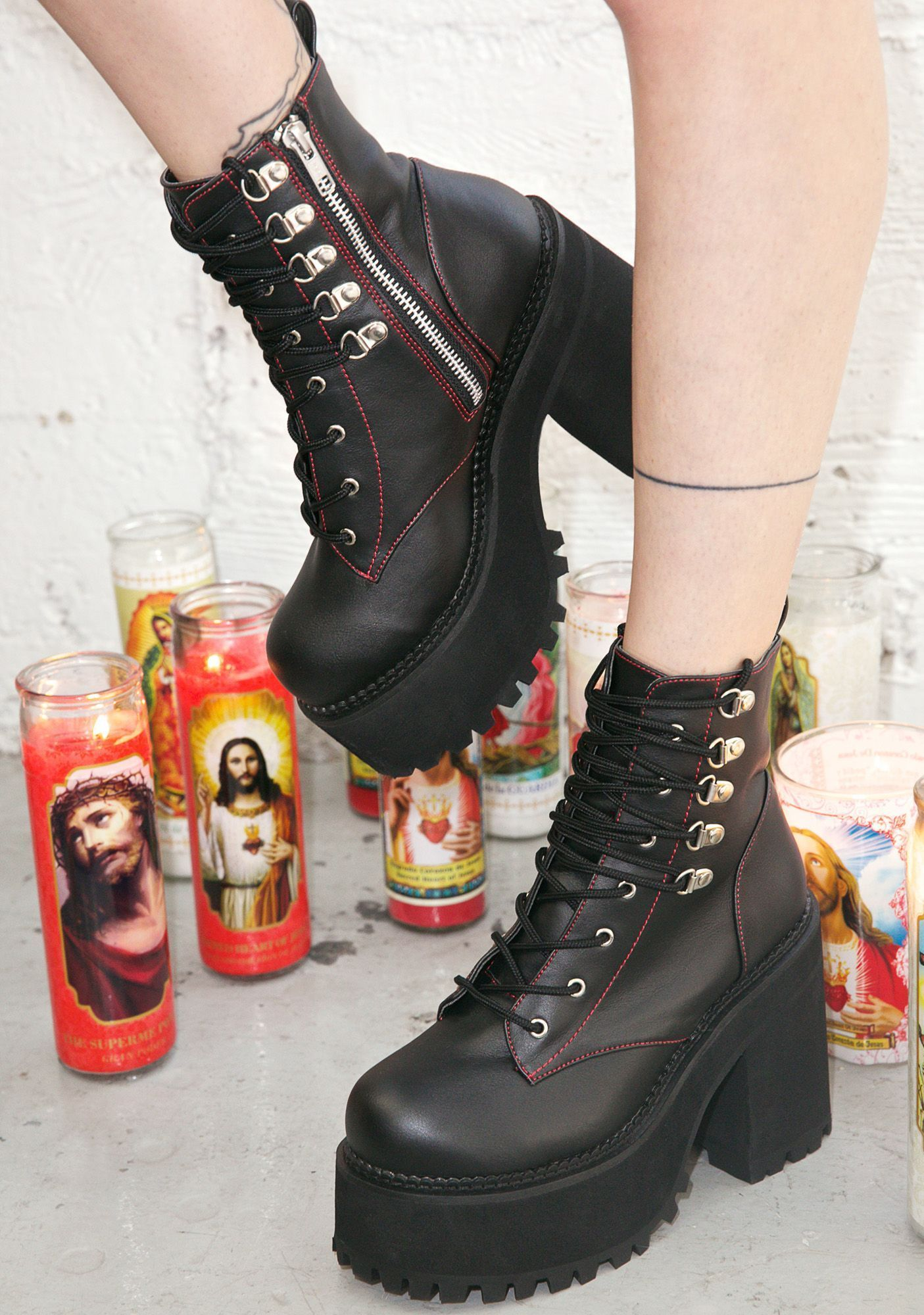 Demonia Deathstalker Vegan Leather Goth Boots Love The Shoes The Candles Make The Pic Awkward Thoughlol Anklebootsoutfit Boots Goth Boots Gothic Shoes
