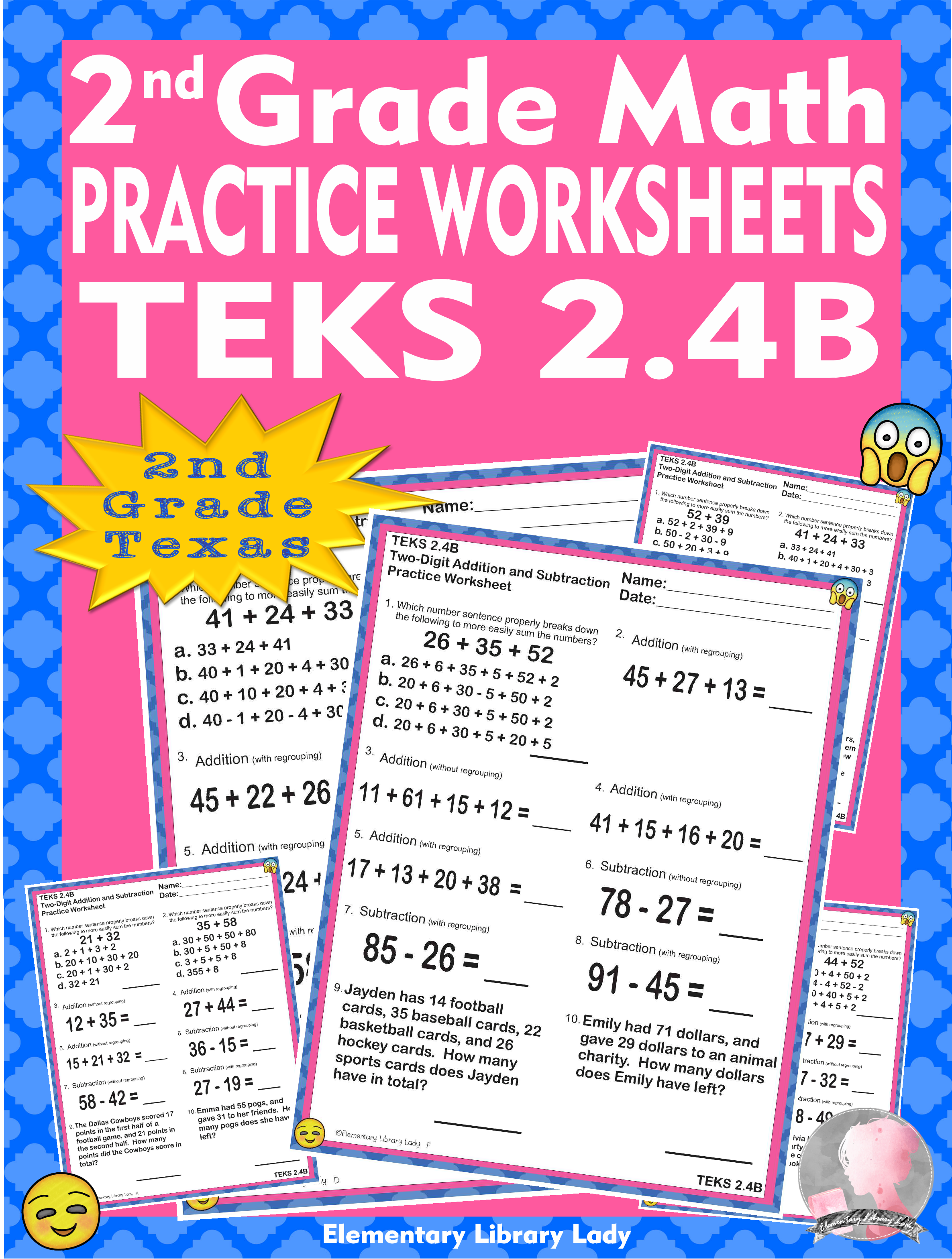 Math Teks 2 4b Texas 2nd Grade Practice Worksheets Add