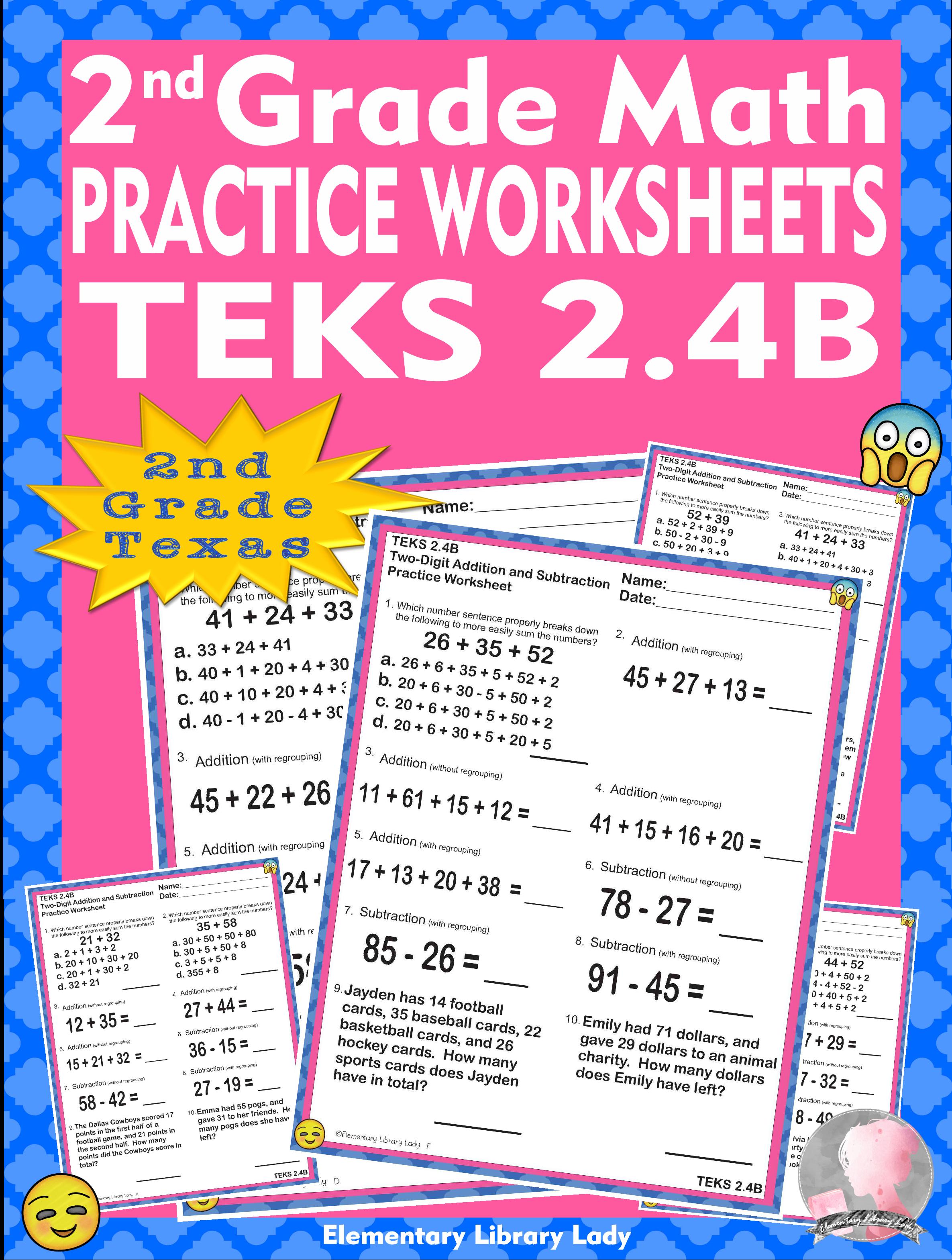 Math Teks 2 4b Texas 2nd Grade Practice Worksheets Add