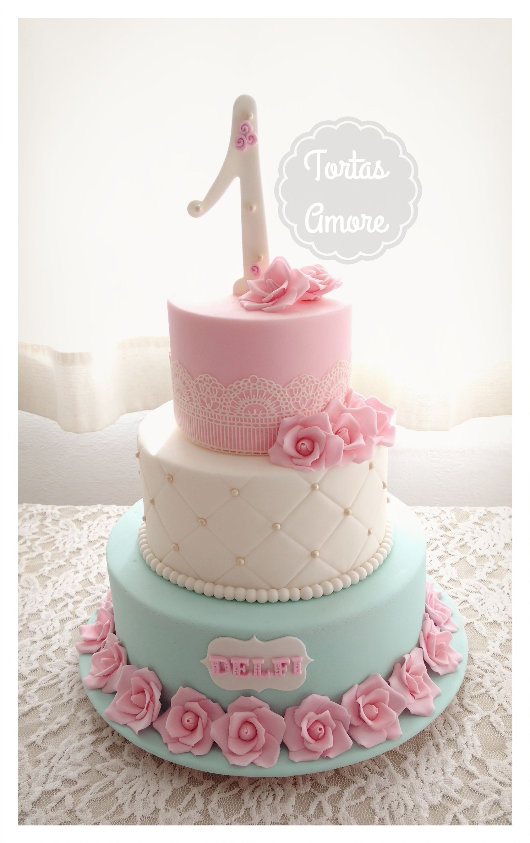 Torta Shabby Chic en tonos rosa, blanco y verde agua pastel ...