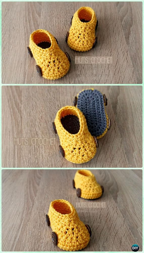 Crochet Hut\'s Spring Car Baby Booties Free Pattern - #Crochet Baby ...