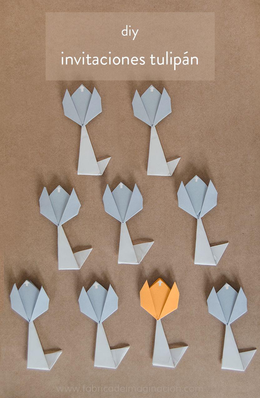 DIY Fábrica de imaginación | DIY Invitaciones de cumpleaños con forma de tulipán | http://www.fabricadeimaginacion.com