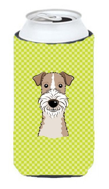 Checkerboard Lime Green Wire Haired Fox Terrier Tall Boy Beverage Insulator Hugger BB1309TBC