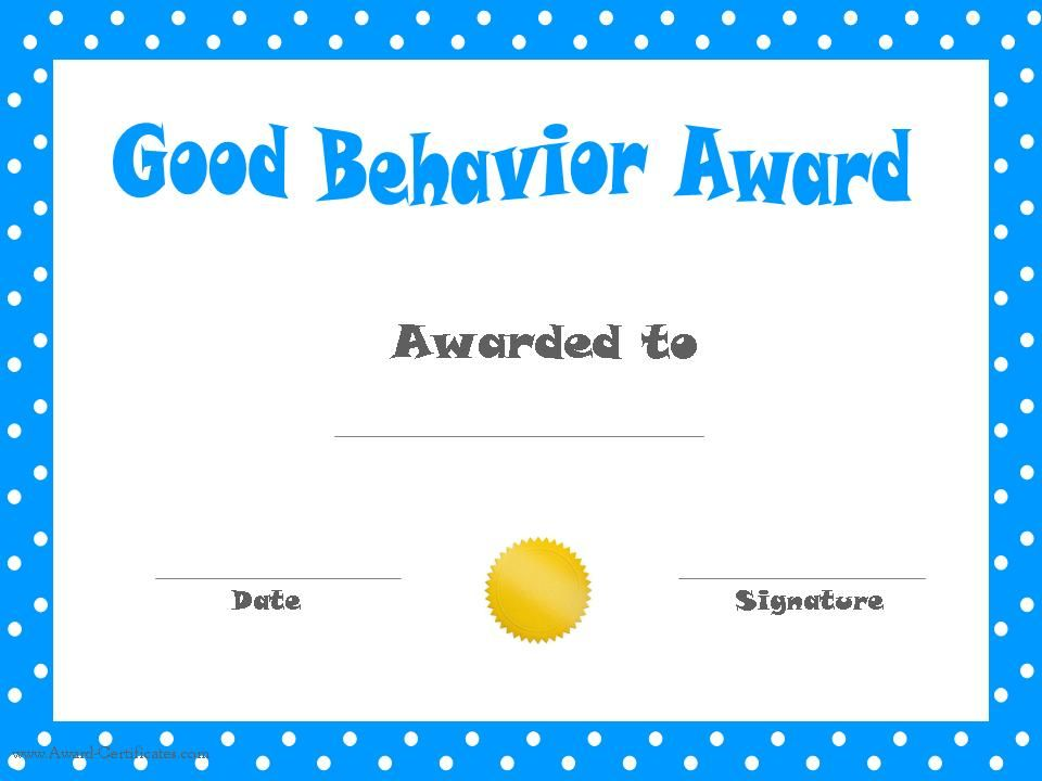 Free Certificate Of Good Behavior To Award Kids For Good Behavior. Customize  Online And Print At Home.  Free Customizable Printable Certificates Of Achievement