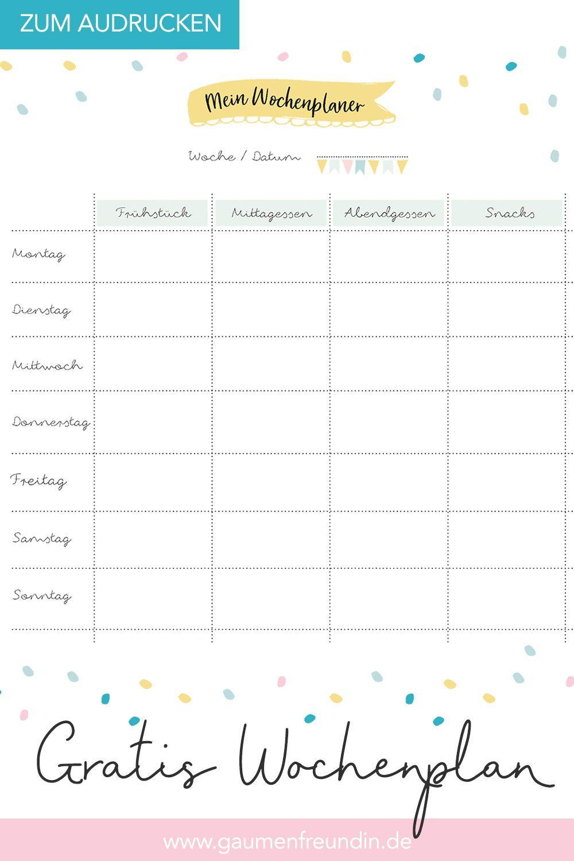 Wochenplan Ausdrucken Speiseplan Essensplan 10