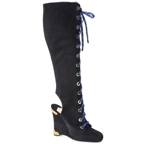 539ebeab94e Prada Tall Cutout Suede Lace-Up Wedge Boots ( 510) ❤ liked on Polyvore  featuring shoes