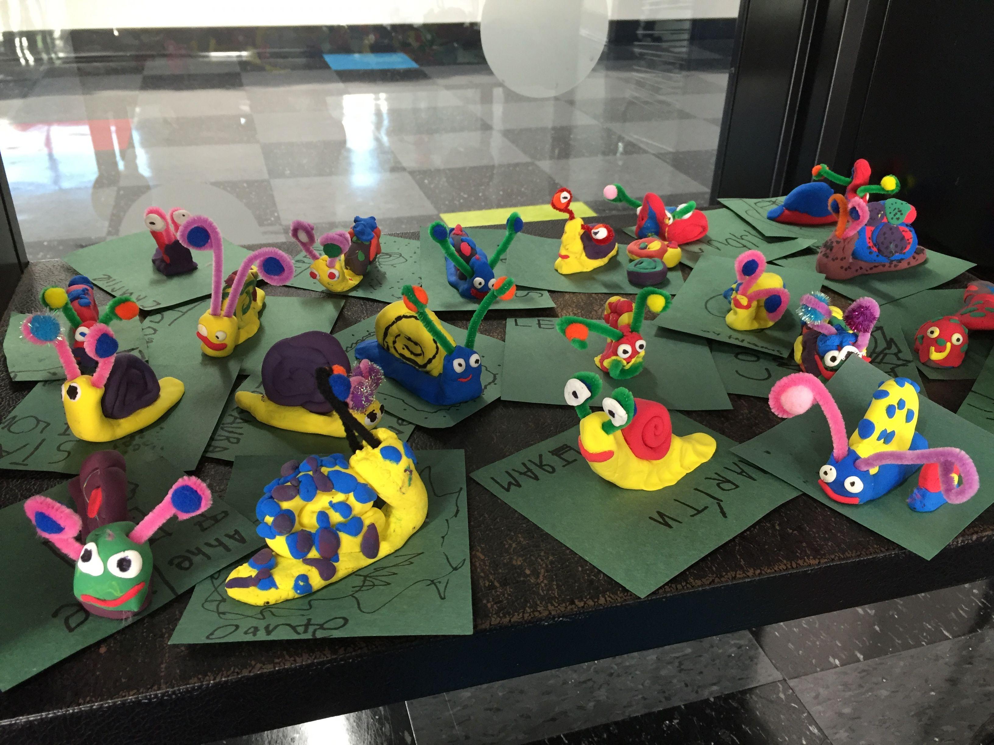 Kindergarten snail sculptures by my students