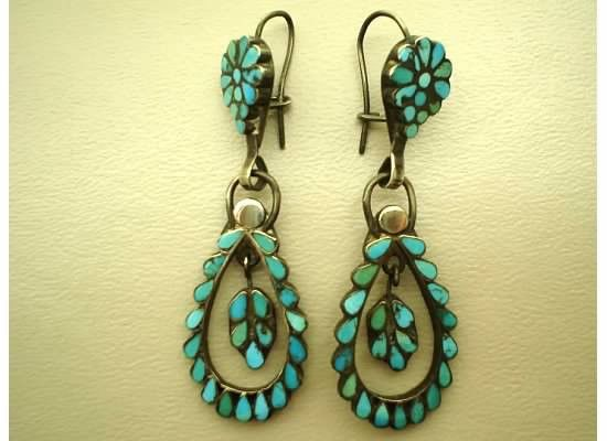 884f839b1 Old Pawn Antique Zuni Indian Turquoise Earrings Dishta Large and Beautiful