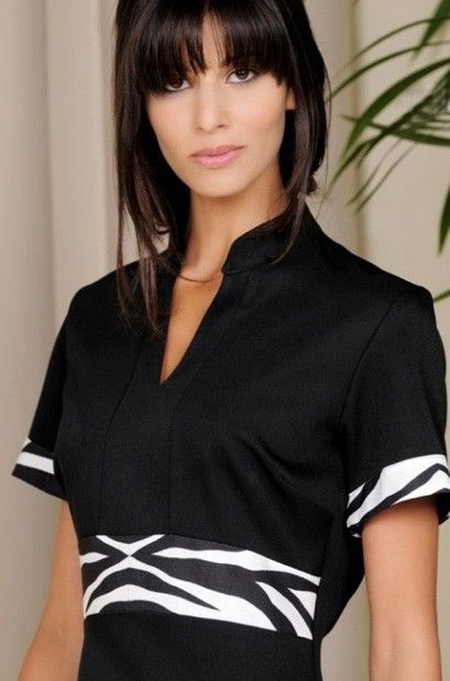 Elegant v neck black zebra beauty tunic available in for Uniform design for spa