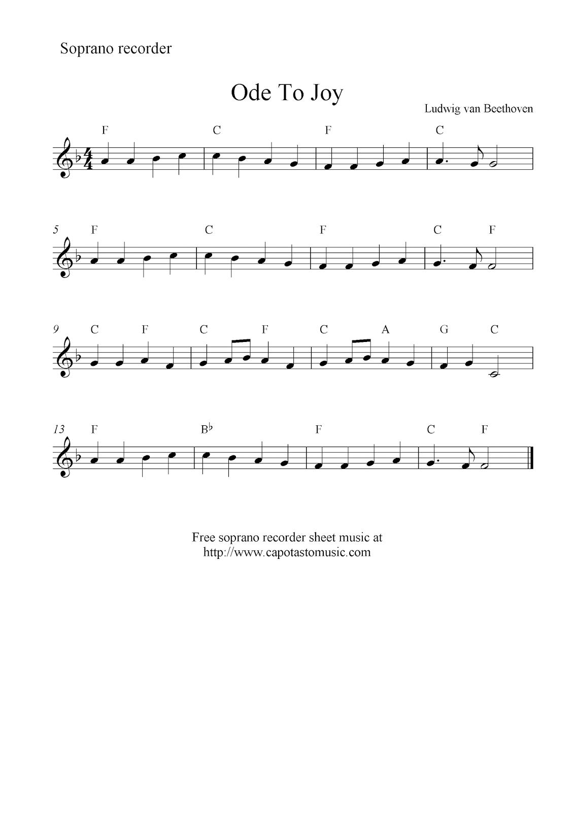 Ode To Joy Free Soprano Recorder Sheet Music Notes