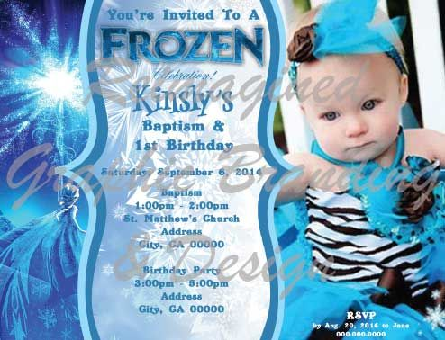 Frozen Baptism 1st Birthday Invitation By Jensen Design Check Us Out On Facebook JensenDesign Or Email At KJensenDesigngmail