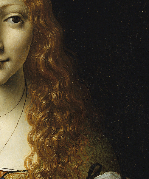 Girl With Cherries (detail); attributed to Giovanni Ambrogio de Predis (circa 1455-after 1508), but possibly by Giovanni Antonio Boltraffio (1467–1516)
