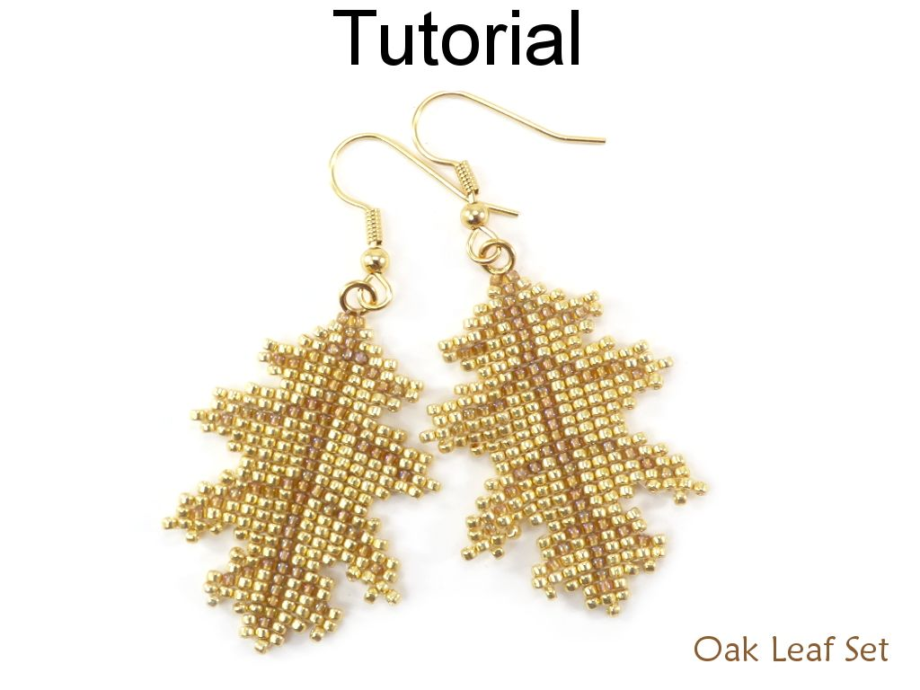 Beaded Oak Leaf Fall Earrings Pendant Necklace On Leather Jewelry Making Tutorial By Simple Bead Patterns