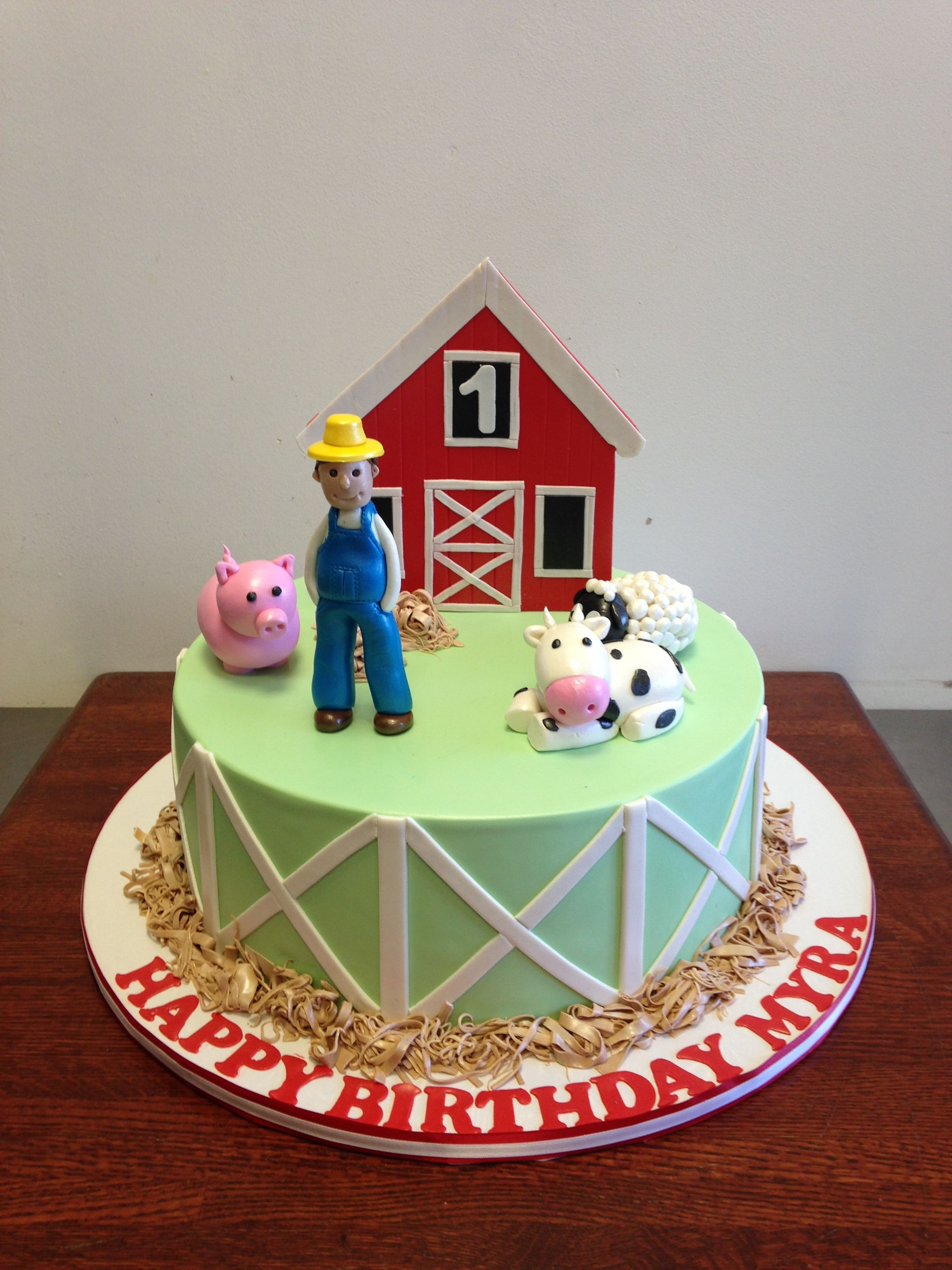 Barnyard Themed Birthday Cake