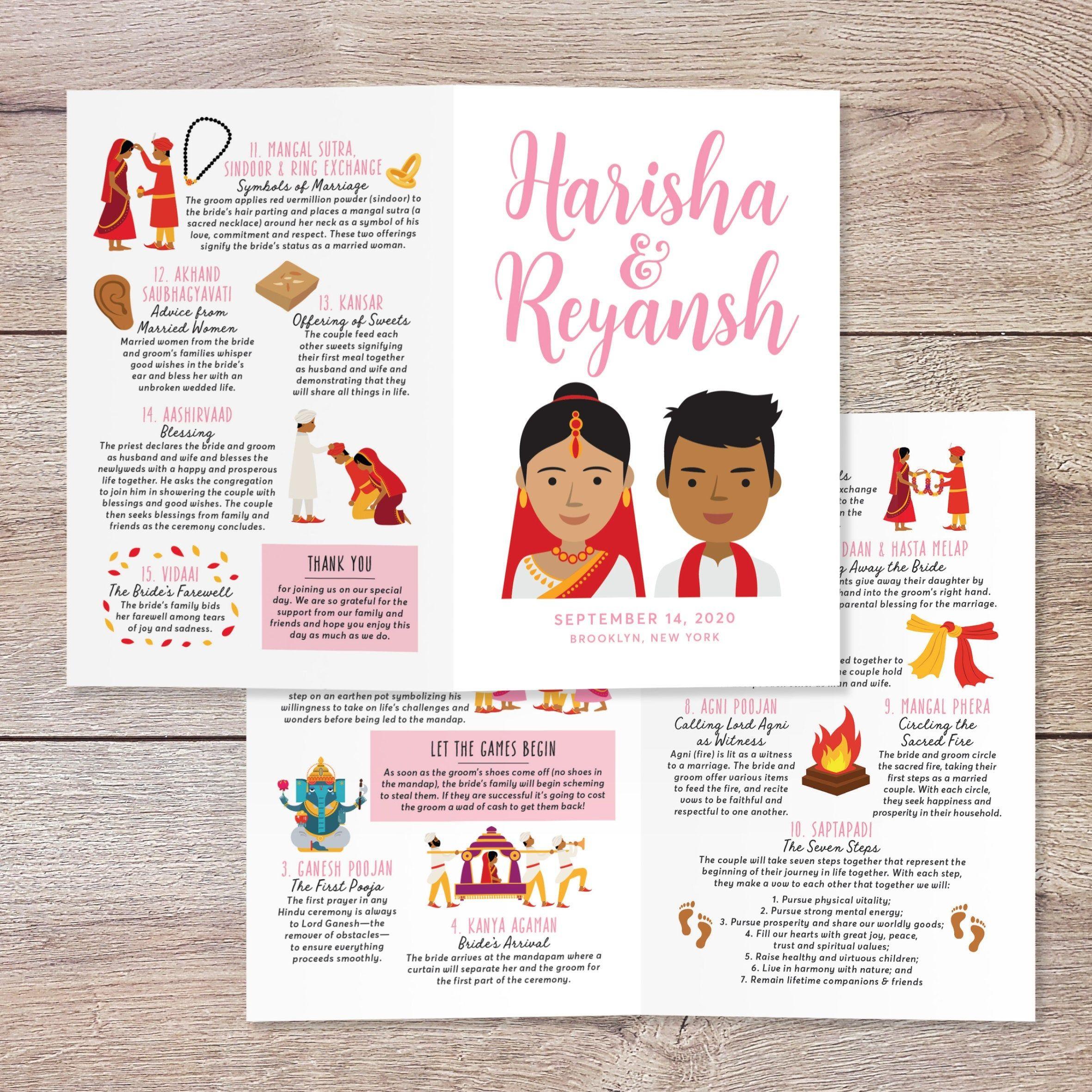 Hindu Ceremony Program Indian Wedding Program Portrait Etsy Hindu Ceremony Wedding Infographic Wedding Programs