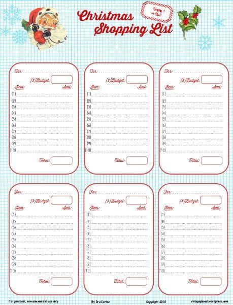 Free Printable Download - Retro Christmas Shopping List Christmas - free christmas list template