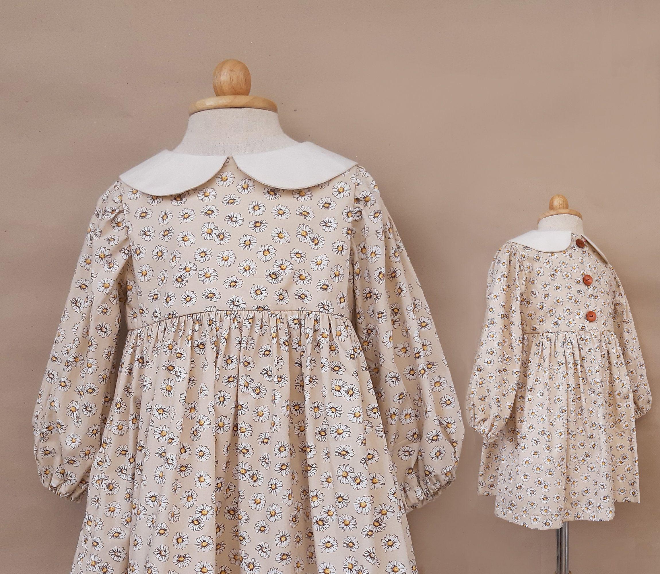 Vintage Girl Dress Long Sleeve Peter Pan Collar Brown Daisy Etsy Vintage Girls Dresses Toddler Girl Dresses Girls Dress Outfits [ 2000 x 2300 Pixel ]