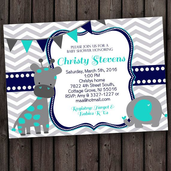 Giraffe Elephant Baby Shower Invitation, Blue Or Pink And Gray Baby Shower  Invitation, Chevron, Customized Wording Baby Shower Invitation