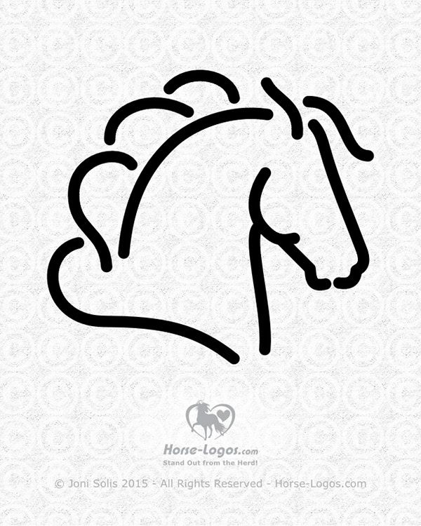 horse head graphic of a horse with his head up and ears back