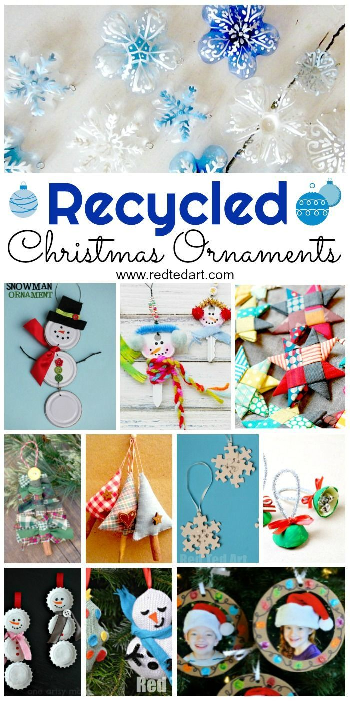 Recycled Ornaments Diy Red Ted Art Make Crafting With Kids Easy Fun Recycled Christmas Decorations Christmas Ornaments Christmas Diy