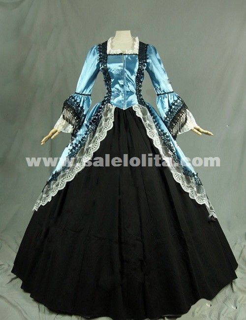 56f133352a7b 2016 Noble Blue And Black Long Sleeve Lace Medieval Gothic Victorian Ball  Civil War Victorian Dress For Women