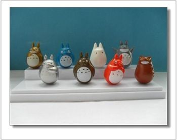 8 Pieces Totoro Dolls 4CM Tumbler Roly-Poly Action Toys Figures WA0042