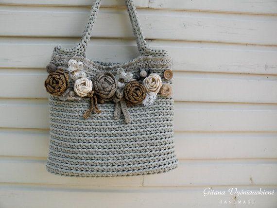 Punto bolsa   bolsa de cuerda   hecho a mano del bolso   del ... 1612677d3441b
