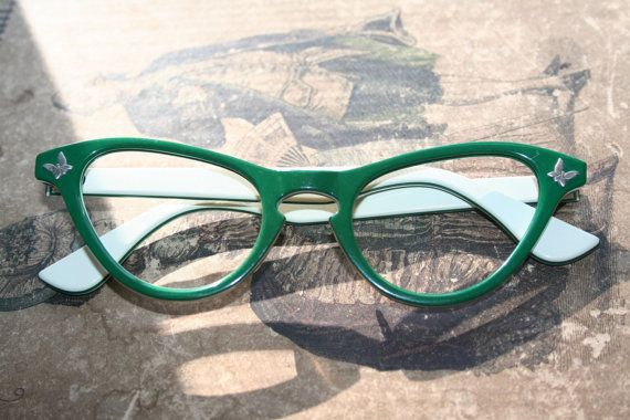vintage cat eye glasses frames green with by mouseinablouse