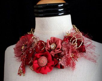 SIMONE Red Mixed Media Textile Art Jewelry Necklace