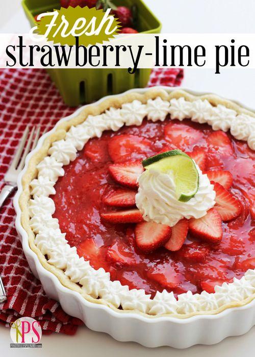 Fresh Strawberry Lime Pie :: PositivelySplendid.com