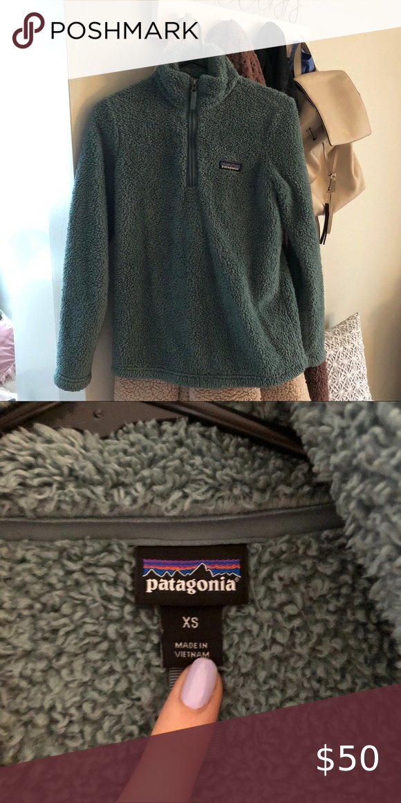 Patagonia Los Gatos teal fleece Patagonia Los Gatos 1/4 quarter zip fleece. Teal/muted green color. Very comfortable! Great quality, only worn a couple times. Fur is a little matted, but just from the wash. Totally normal.  Size XS💚 #patagonia #fleece #comfort #poshmark #losgatos Patagonia Sweaters
